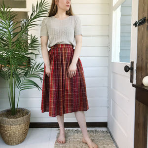 Vintage 50's Plaid Full Circle Midi Skirt